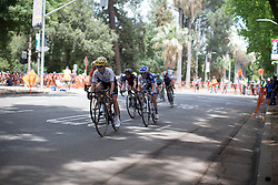 Emma Johansson (SWE) of Wiggle Hi5 Cycling Team leads the peloton in the last quarter of the fourth, 70 km road race stage of the Amgen Tour of California - a stage race in California, United States on May 22, 2016 in Sacramento, CA.