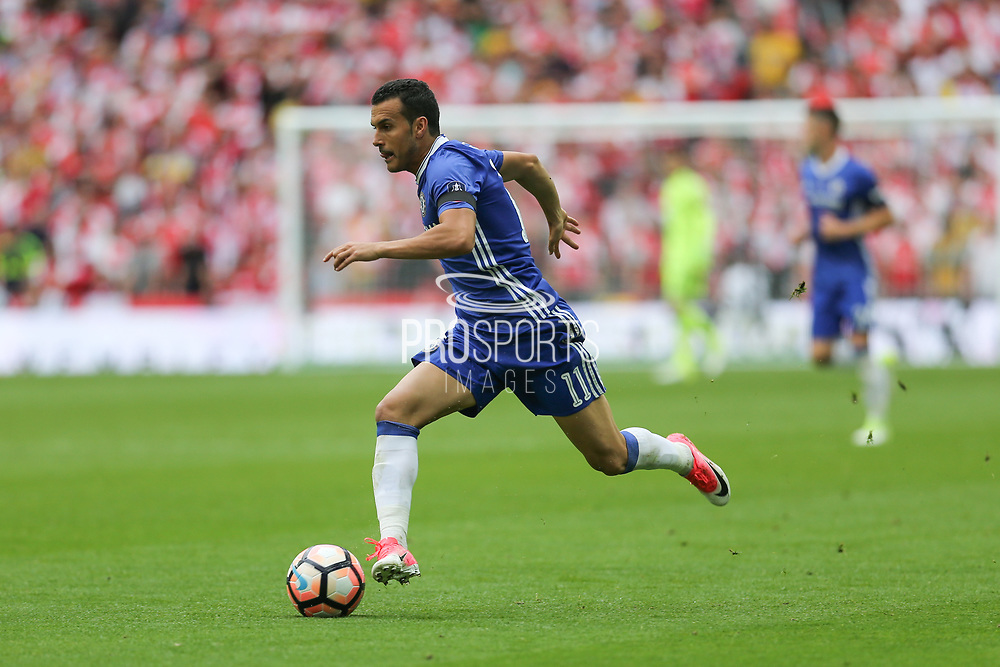 Chelsea's Pedro(11) runs forward during the The FA Cup final match between Arsenal and Chelsea at Wembley Stadium, London, England on 27 May 2017. Photo by Shane Healey.