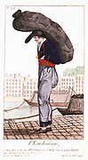 Paris Coalman, with barge on the Seine in background. From 'Arts, Metiers et Cris de Paris' Paris, 1826. Coloured engraving.
