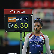 Gymnastics - Olympics: Day 6 Simone Biles #391 of the United States during the Artistic Gymnastics Women's Individual All-Around Final at the Rio Olympic Arena on August 11, 2016 in Rio de Janeiro, Brazil. (Photo by Tim Clayton/Corbis via Getty Images)