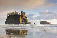 Sunset at Second Beach, Olympic National Park, Washington.
