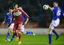 Leicester Defender Michael Keane (ENG) hand balls as Middlesbrough Forward Emmanuel Ledesma (ARG) (left) looks on during the second half of the match - Photo mandatory by-line: Rogan Thomson/JMP - Tel: Mobile: 07966 386802 18/01/2013 - SPORT - FOOTBALL - King Power Stadium - Leicester. Leicester City v Middlesbrough - npower Championship.