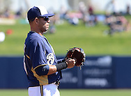 PHOENIX, AZ - FEBRUARY 23:  Infielder Aramis Ramirez #16 of the Milwaukee Brewers stands on the field in the game against in the Oakland Athletics during the spring training game at Maryvale Baseball Park on February 23, 2013 in Phoenix, Arizona.  (Photo by Jennifer Stewart/Getty Images) *** Local Caption *** Aramis Ramirez