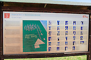 Tourist information sign, Campo del Sole Sculpture Garden, Tuoro sul Trasimeno, Umbria, Italy