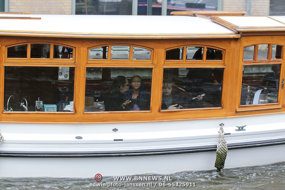 NLD/Amsterdam/20120314 - American superstar Angeeina Jolie visits Amsterdam with her childeren Shiloh and Zahara,