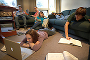 college students in dorm room