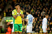 Norwich City midfielder Onel Hernandez (25)  rues a missed chance during the EFL Sky Bet Championship match between Norwich City and Blackburn Rovers at Carrow Road, Norwich, England on 27 April 2019.