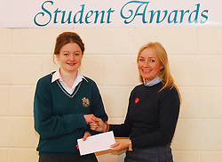 Sancta Maria College's Student Awards.Saoirse Lally recieved the Senior academic award from Teacher Joan Rennick...Pic Conor McKeown
