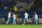 Daniel Pudil of Sheffield Wednesday celebrates his teams first goal (1-1) during the EFL Sky Bet Championship match between Cardiff City and Sheffield Wednesday at the Cardiff City Stadium, Cardiff, Wales on 19 October 2016. Photo by Andrew Lewis.