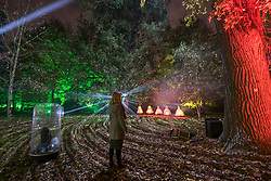 © Licensed to London News Pictures. 10/11/2017. London, UK.  The Enchanted Woodland opens at Syon House in West London.  An illuminated trail takes visitors through gardens designed by Capability Brown, round an ornamental lake and ends at the spectacular Great Conservatory. Photo credit: Stephen Chung/LNP