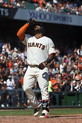 SAN FRANCISCO, CA - SEPTEMBER 17: Pablo Sandoval #48 of the San Francisco Giants celebrates after hitting a home run against the Arizona Diamondbacks during the sixth inning at AT&T Park on September 17, 2017 in San Francisco, California. The San Francisco Giants defeated the Arizona Diamondbacks 7-2. (Photo by Jason O. Watson/Getty Images) *** Local Caption *** Pablo Sandoval