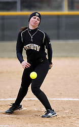 30 March 2013:  Emily Bichler during an NCAA Division III women's softball game between the DePauw Tigers and the Illinois Wesleyan Titans in Bloomington IL