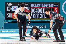 20.02.2018, Gangneung Curling Centre, Gangneung, KOR, PyeongChang 2018, Curling, Herren, Robin Session, im Bild Team Korea mit Kim Changmin, Seong Sehyeon, Kim Minchan, Lee Kibok, Oh Eunsu // Team Korea with Kim Changmin Seong Sehyeon Kim Minchan Lee Kibok Oh Eunsu during the Mens Curling Robin Session of the Pyeongchang 2018 Winter Olympic Games at the Gangneung Curling Centre in Gangneung, South Korea on 2018/02/20. EXPA Pictures © 2018, PhotoCredit: EXPA/ Johann Groder