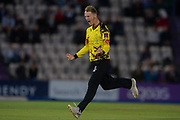 Max Waller of Somerset celebrates the wicket of Calvin Dickinson of Hampshire during the NatWest T20 Blast South Group match between Hampshire County Cricket Club and Somerset County Cricket Club at the Ageas Bowl, Southampton, United Kingdom on 18 August 2017. Photo by Dave Vokes.