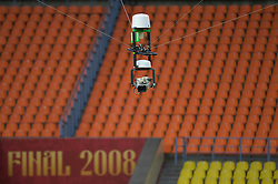 MOSCOW, RUSSIA - Tuesday, May 20, 2008: A floating remote television camera hovers over the stadium during a training ahead of the UEFA Champions League Final between Chelsea and Manchester United at the Luzhniki Stadium. (Photo by David Rawcliffe/Propaganda)
