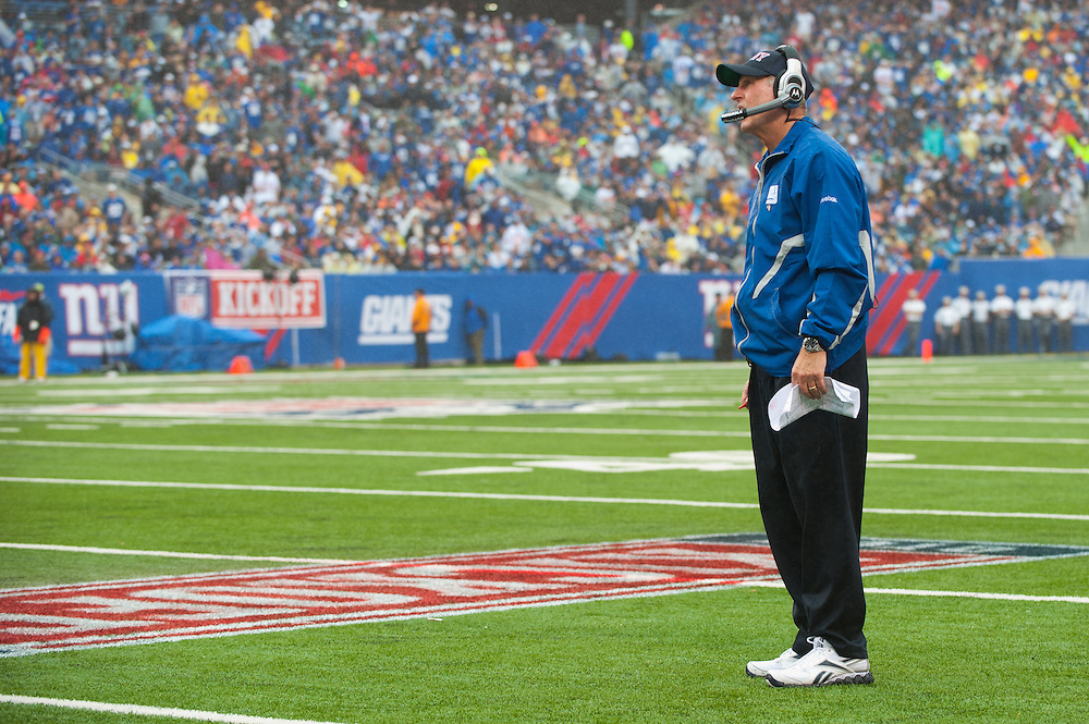 EAST RUTHERFORD, NJ - SEPTEMBER 12: Head coach Tom Coughlin of the New York Giants looks on during their game against the Carolina Panthers on September 12, 2010 at New Meadowlands Stadium in East Rutherford, New Jersey. (Photo by Rob Tringali) *** Local Caption *** Tom Coughlin
