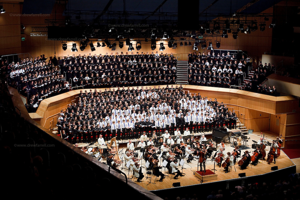 Over 650 singers from nine NYCoS Area Choirs throughout Scotland with the black shirts of the Changed Voice section of NYCoS National Boys Choir, conducted by Christopher Bell (pictured centre) and joined by the Orchestra of Scottish Opera perform Tom Cunningham's specially commissioned 'Seven Planets and a Cosmic Rock ' at The Royal Concert Hall.  Actor Billy Boyd, patron of the National Boys Choir, narrated this section of the show.<br /> Glasgow. Sunday 8th May 2011<br /> Picture Drew Farrell<br /> Tel : 07721-735041.<br /> Note to Editors:  This image is free to be used editorially in the promotion of the NYCOS. Without prejudice ALL other licences without prior consent will be deemed a breach of copyright under the 1988. Copyright Design and Patents Act  and will be subject to payment or legal action, where appropriate. For further information please contact Vicky Tibbitt Marketing and Communications Manager 0141-287-2801.