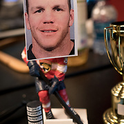 JUNE 15, 2017--SUNRISE, FLORIDA<br /> A hockey player figurine with a taped photo of Shawn Thornton, a former Boston Bruins player known as the team's enforcer, who is now the Florida Panthers VP for business operations. <br /> (Photo by Angel Valentin/Freelance)