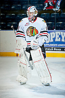KELOWNA, CANADA - OCTOBER 4:  Brendan Burke #1 of the Portland Winterhawks stands on the ice at the Kelowna Rockets on October 4, 2013 at Prospera Place in Kelowna, British Columbia, Canada (Photo by Marissa Baecker/Shoot the Breeze) *** Local Caption ***