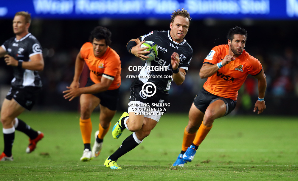 DURBAN, SOUTH AFRICA - MARCH 05:  Joe Pietersen of the Cell C Sharks during the 2016 Super Rugby match between Cell C Sharks and Jaguares at Growthpoint Kings Park Stadium on March 05, 2016 in Durban, South Africa. (Photo by Steve Haag/Gallo Images)