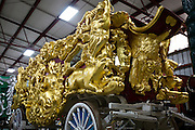 BARABOO, WI – JANUARY 23: A gold leaf circus carriage, used by the Ringling Brothers at the turn of the 20th century, on display at the Circus World Museum in Baraboo. Restoration experts estimate that the intricately hand-carved carriage is covered in over $100,000 worth of gold.
