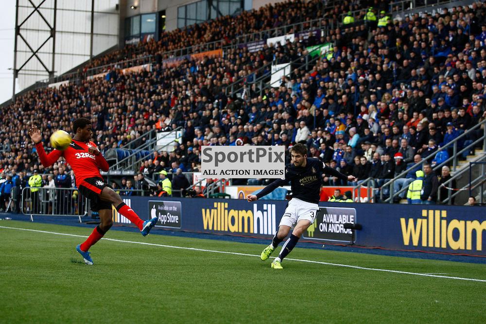 Luke Leahy crosses the ball in the Falkirk v Rangers Falkirk Stadium 19 December 2015<br /><br />(c) Russell G Sneddon / SportPix.org.uk