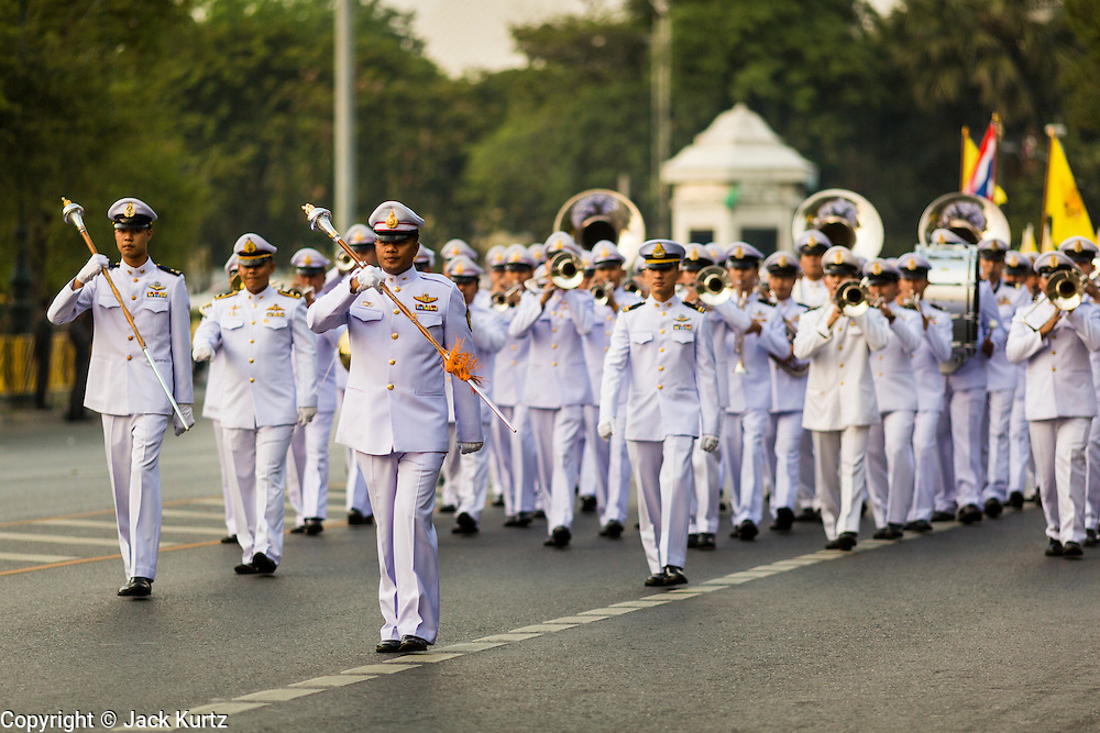 05 DECEMBER 2013 - BANGKOK, THAILAND: Military cadets march in a parade to honor the King in Bangkok. Thais observed the 86th birthday of Bhumibol Adulyadej, the King of Thailand, their revered King on Thursday. They held candlelight services throughout the country. The political protests that have gripped Bangkok were on hold for the day, although protestors did hold their own observances of the holiday. Thousands of people attended the government celebration of the day on Sanam Luang, the large public space next to the Grand Palace in Bangkok.     PHOTO BY JACK KURTZ