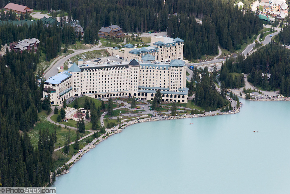 From atop the Big Beehive, look down to the Fairmont Chateau Lake Louise, in Banff National Park, Alberta, Canada. This is part of the big Canadian Rocky Mountain Parks World Heritage Site declared by UNESCO in 1984.