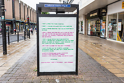 London, UK. 30 July, 2019. Adhacks attacking Boris Johnson with an adaptation of New York-based artist Zoe Leonard's blistering 'I Want A President' have appeared around the newly-appointed Prime Minister's constituency of Uxbridge and South Ruislip. They were produced by the artist Protest Stencil in tribute to Zoe Leonard to coincide with the #FckBoris events.