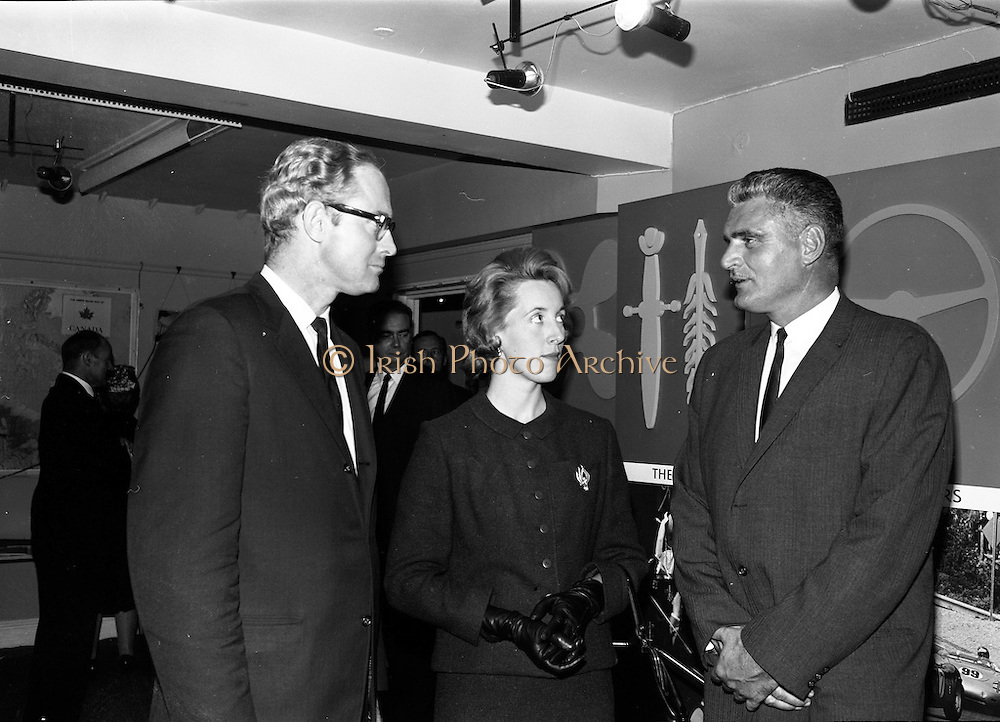8/9/1964<br /> 9/8/1964<br /> 8 September 1964<br /> <br /> (L-R) Mr. J.R. Sharpe the Canadian Charge d'Affairs making his first public appearance in Dublin along with Mrs. J.R. Sharpe and Mr. M.L. Voisey Directro of Goverment Immigration service in London