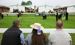 © Licensed to London News Pictures.16/07/15<br /> Harrogate, UK. <br /> <br /> Visitors sit and watch ponies being judged during a heat on the final day of the Great Yorkshire Show.  <br /> <br /> England's premier agricultural show has seen three days of showcasing the best in British farming and celebrating the countryside.<br /> <br /> The event which attracts over 130,000 visitors each year displays the cream of the country's livestock and offers numerous displays and events giving the chance for visitors to see many different countryside activities.<br /> <br /> Photo credit : Ian Forsyth/LNP