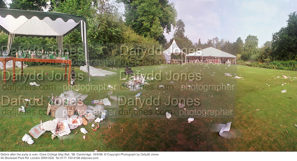 Debris after the party is over. Clare College May Ball. '98. Cambridge. 16/6/98. © Copyright Photograph by Dafydd Jones<br /> 66 Stockwell Park Rd. London SW9 0DA<br /> Tel 0171 733 0108