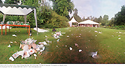 Debris after the party is over. Clare College May Ball. &lsquo;98. Cambridge. 16/6/98. &copy; Copyright Photograph by Dafydd Jones<br /> 66 Stockwell Park Rd. London SW9 0DA<br /> Tel 0171 733 0108