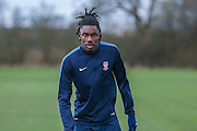 York City defender, on loan from Arsenal, Stefan OConnor  York City FC Training Session at Bootham Crescent, York, England on 27 November 2015. Photo by Simon Davies.