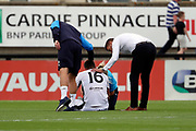 AFC Wimbledon manager Neal Ardley and Boreham Wood manager Luke Garrard consoling Boreham Wood Connor Smith (16) who was down injured during the Pre-Season Friendly match between Borehamwood and AFC Wimbledon at Meadow Park, Borehamwood, United Kingdom on 28 July 2018. Picture by Matthew Redman.