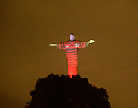 2019-10-20 Rio de Janeiro- Brazil  Christ the Redeemer Statue, dressed in the shirt of Flamengo Brazil's biggest football club. Photo by André Durão / Swe Press Photo