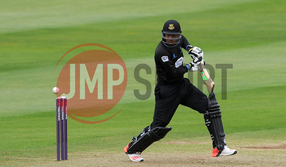 Sussex's Chris Jordan drives the ball. Photo mandatory by-line: Harry Trump/JMP - Mobile: 07966 386802 - 22/05/15 - SPORT - CRICKET - Natwest T20 Blast - Somerset v Sussex Sharks - The County Ground, Taunton, England.