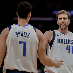 Dec 29, 2017; New Orleans, LA, USA; Dallas Mavericks forward Dirk Nowitzki (41) and forward Dwight Powell (7) during the first quarter against the New Orleans Pelicans at the Smoothie King Center. Mandatory Credit: Derick E. Hingle-USA TODAY Sports