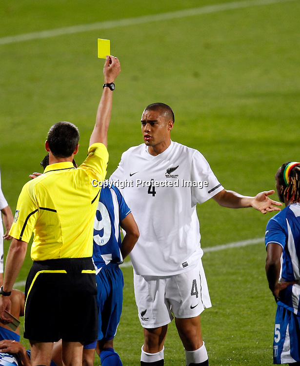 NZ's Winston Reid recieves a yellow card. ASB International Series, All Whites v Honduras, North Harbour Stadium Albany, Saturday 9th October 2010. Photo: Shane Wenzlick