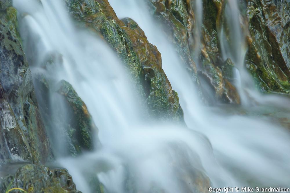 Detail of roadside waterfall, La Martre, Quebec, Canada