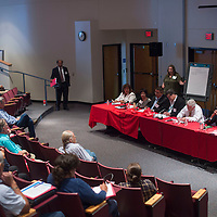 "Community leaders participate in an open forum panel discussion titled ""The Challenges of Developing a Skilled Workforce in the Region,"" during the 2016 Workforce Development Leadership Summit at University of New Mexico in Gallup Thursday. Community members offered questions and suggestions to the panel on how best to improve the workforce in the area."