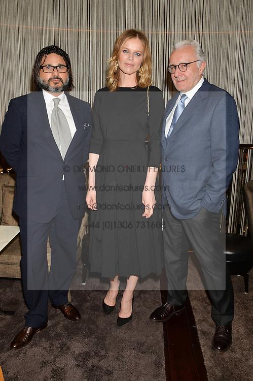 Left to right, HANI FARSI, EVA HERZIGOVA and ALAIN DUCASSE at the Launch Of Alain Ducasse's Rivea Restaurant At The Bulgari Hotel, 171 Knightsbridge, London on 8th May 2014.