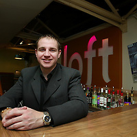 Loft nightclub manager Scott McKenzie,27,  who is looking forward to meeting his TV 'twin' Hollyoaks nightclub manager Scott Anderson played by actor Daniel Hyde.<br />Please see Press Release from Maureen Young 077778 779888 or contact Scott McKenzie on 07746392302<br /><br />Picture by John Lindsay .<br />COPYRIGHT: Perthshire Picture Agency.<br />Tel. 01738 623350 / 07775 852112.