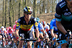The peloton including Belgian National Champion Yves Lampaert (BEL) Deceuninck-Quick Step climb La Houppe during the 2019 E3 Harelbeke Binck Bank Classic 2019 running 203.9km from Harelbeke to Harelbeke, Belgium. 29th March 2019.<br /> Picture: Eoin Clarke | Cyclefile<br /> <br /> All photos usage must carry mandatory copyright credit (© Cyclefile | Eoin Clarke)