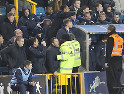 Millwall fans scream at Birmingham City Manager, Lee Clark - Photo mandatory by-line: Robin White/JMP - Tel: Mobile: 07966 386802 15/03/2014 - SPORT - FOOTBALL - The Den - Millwall - Millwall v Birmingham City - Sky Bet Championship