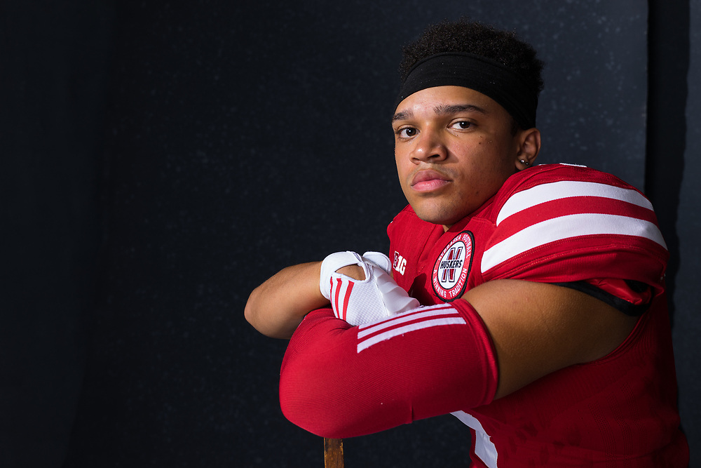 AVERY ANDERSON #4, during a portrait session at Memorial Stadium in Lincoln, Neb. on June 7, 2017. Photo by Paul Bellinger, Hail Varsity