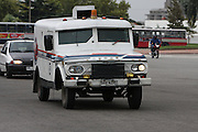 Montevideo, Uruguay - A armored truck drives on the streets of Montevideo