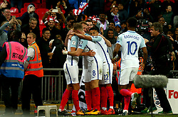 Harry Kane of England celebrates with teammates after scoring the winning goal to make it 1-0 - Mandatory by-line: Robbie Stephenson/JMP - 05/10/2017 - FOOTBALL - Wembley Stadium - London, United Kingdom - England v Slovenia - World Cup qualifier