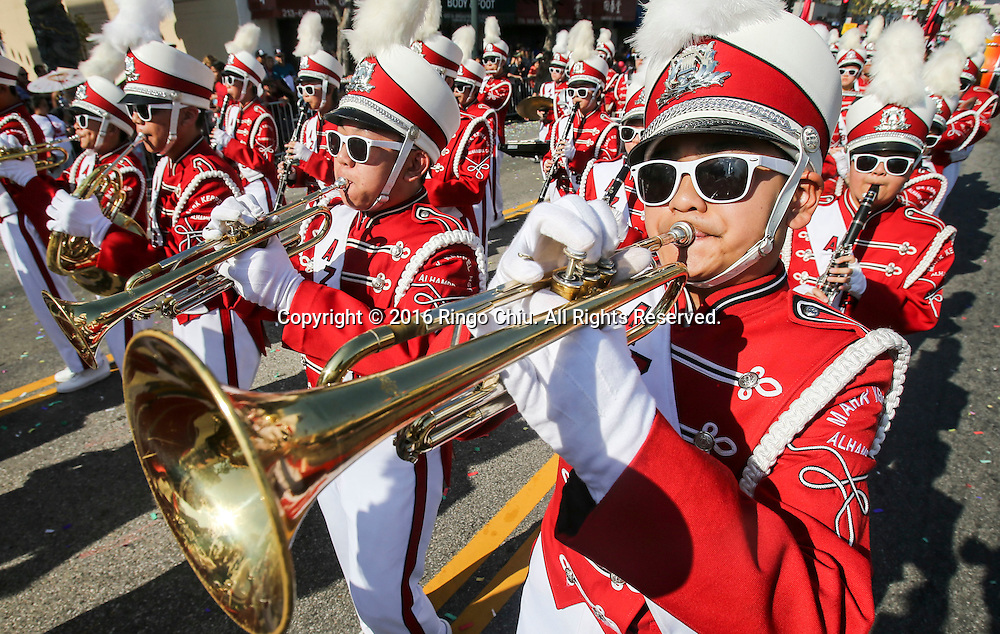 Members of Alhambra High School marching band perform during the 117th annual Chinese New Year &quot;Golden Dragon Parade&quot; in the streets of Chinatown in Los Angeles, Saturday Feb. 13, 2016. (Photo by Ringo Chiu/PHOTOFORMULA.com)<br /> <br /> Usage Notes: This content is intended for editorial use only. For other uses, additional clearances may be required.