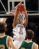Kansas State guard Lance Harris (3) scores with a reverse dunk in the first half against William &amp; Mary at Bramlage Coliseum in Manhattan, Kansas, November 11, 2006.  K-State leads William &amp; Marry at half 34-27.<br />